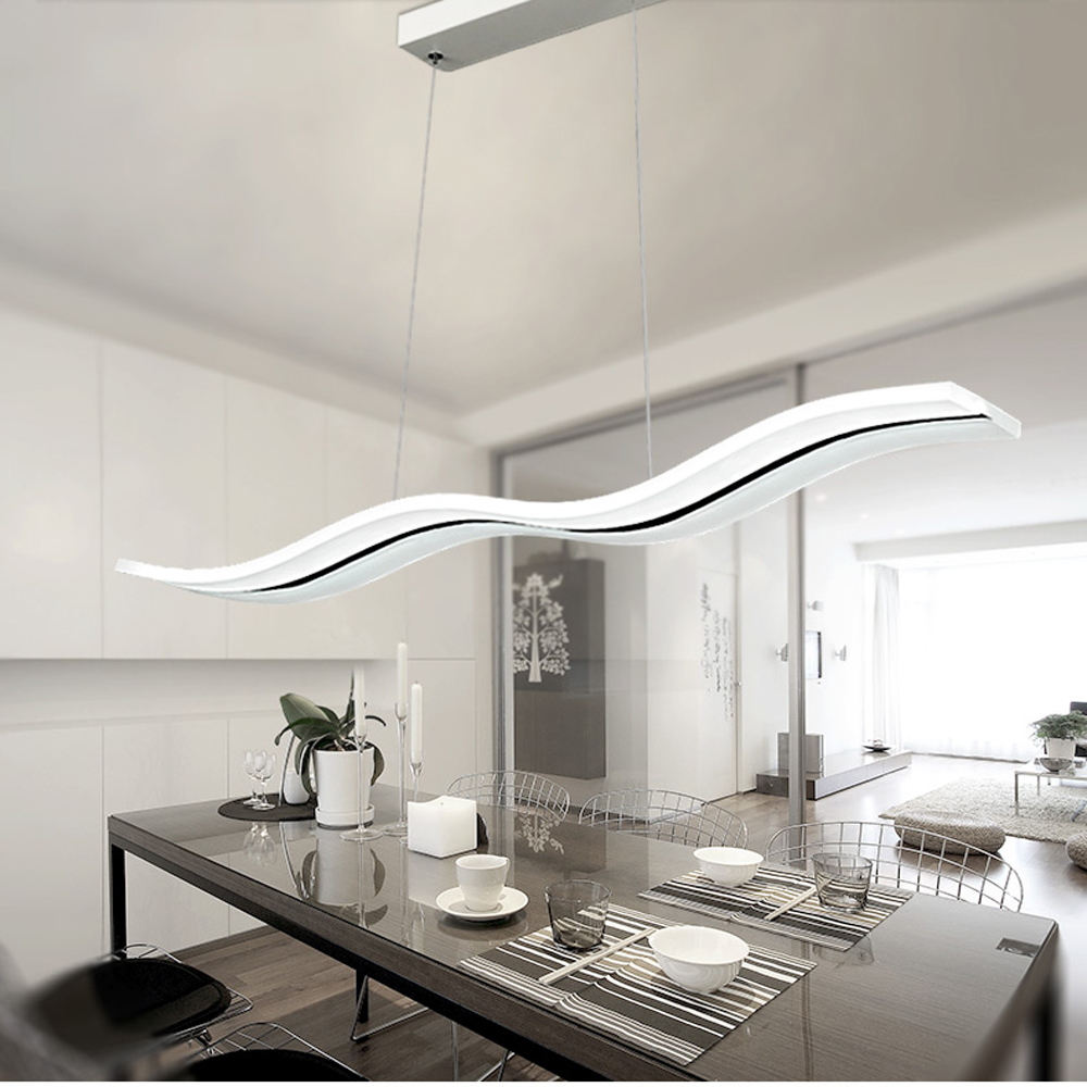 Modern led chandelier dining room living room acrylic lamp home modern led chandelier dining room living room acrylic lamp home lighting wave shape dimming chandeliers light fixtures luminaire in pendant lights from aloadofball Choice Image