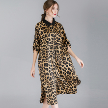 Plus size Women's casual A-line dresses leopard turn down collar Elegant dress Large size ladies' Spring new loose dress belt long sleeved dress women 2019 spring summer new simple stripes turn down collar slim a line casual elegant dress midi s xl