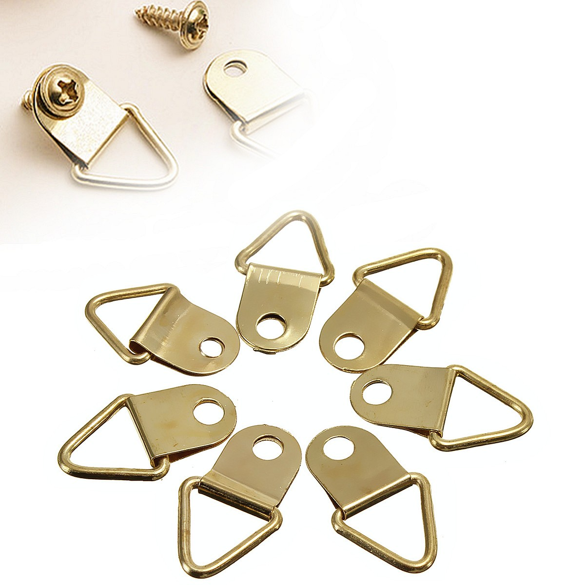 50pcs picture hangers golden brass triangle photo picture frame wall mount hanger hook ring iron. Black Bedroom Furniture Sets. Home Design Ideas