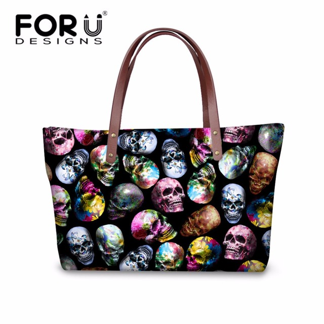 f7a5d39c48 FORUDESIGNS Skull Printed Women Handbags Brand Large Tote Bags for Female  Casual Shoulder Fashion Girls Beach