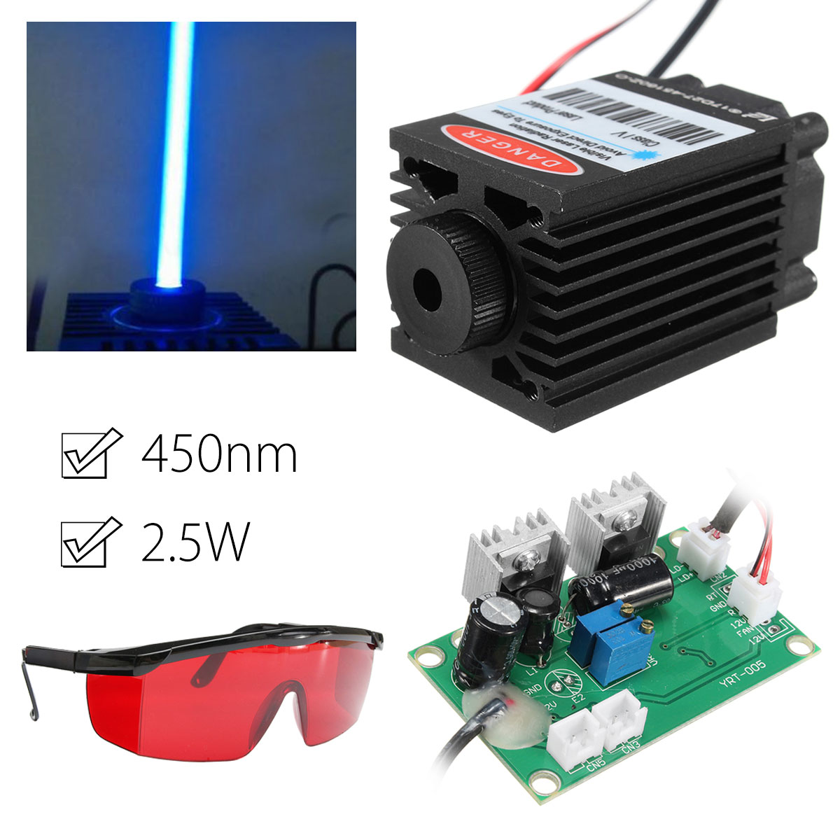 2.5W 450nm Blue Laser Module TTL 12V Focusable High Power + Goggles for CNC Cutting Laser Engraving Machine Woodworking Parts 1pcs dn20mm manual wire bender 500mm inner pipe bending spring pvc wire spring tube bender silver