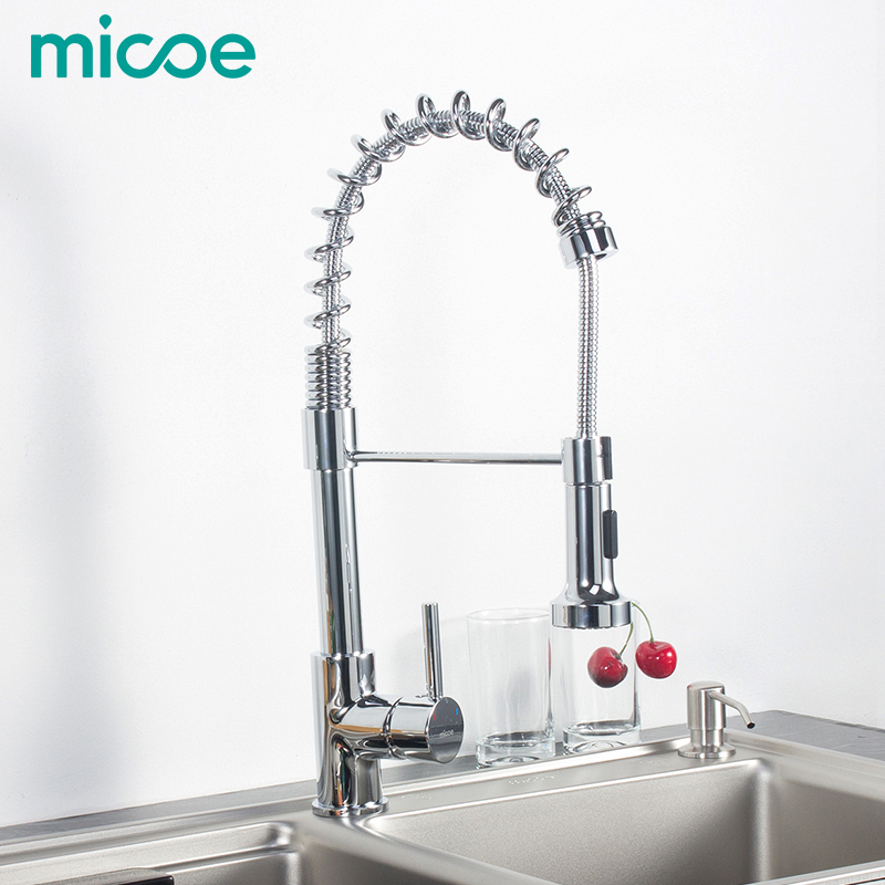 micoe pull-style hot and cold water kitchen faucet mixer single handle single hole modern style chrome tap 360 swivel M-HC103 kitchen faucets chrome color pull out kitchen sink faucet hot and cold single hole single handle two ways water outlet al 5302l