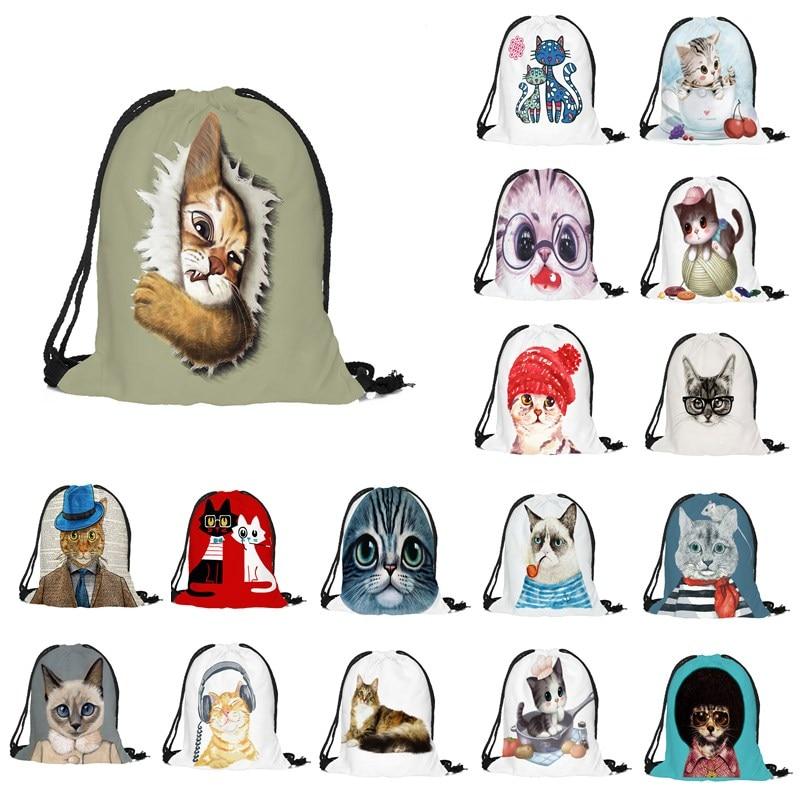 1pcs 32x38cm Lovely Cat Pattern Storage Bag Women Men Drawstring Travel Backpack Bag Toys Shoes Clothes Organizer 49254
