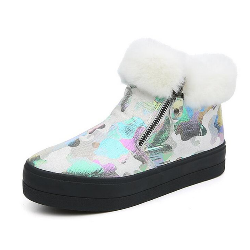 Side Zipper Easy Wear Winter Ankle Shoes 2017 New Fur Top Warm Women's Snow Boots Female High Top Platform Leisure Shoes 11cm heels 2013 new winter high platform soled high heeled snow boots female side zipper rabbit fur thick heels snow shoes h1852