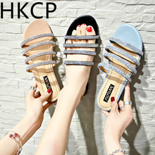 HKCP 2019 summer new slippers female rhinestone Korean version of the outdoor flat with non-slip beach C276