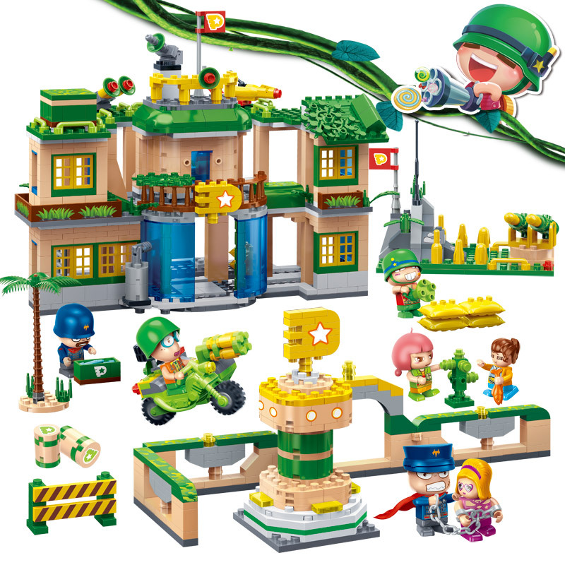[new listing] buoubuou assembled puzzle children toy cannon artillery camp villains escape [small particles] buoubuou creative puzzle toy toy bricks 30 16219 new military military series