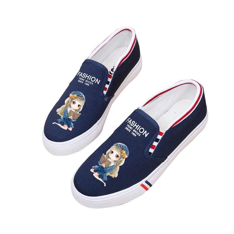 100% стороны Paingting девушка парусиновая обувь с героями мультфильмов на плоской подошве школьница граффити парусиновая обувь маленькие белые ...