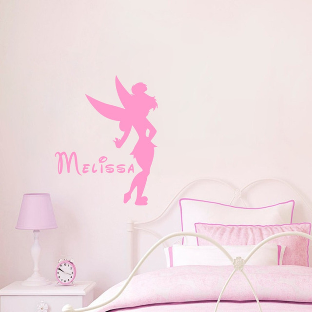 Personalized Wall Decors Litter Fairy With Girs Name Cartoon Elfin Wall  Decals For Nursery Baby Bedroom