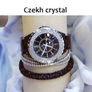 Image 2 - 2018 top marke luxus armbanduhr für frauen weiß keramik band damen uhr quarz mode frauen uhren strass schwarz BS