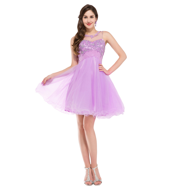 d2dcd282da6 5 Color New Grace Karin CL6151 Beautiful Cute Ball Gown Short Prom Dresses  Blue Pink Lilac Green Bridesmaid Dress Lace Decorated