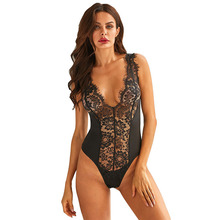 SEBOWEL Sexy Floral Lace Deep V Neck Sleeveless Bodysuit Woman Summer White/Black Female Lady Hollow Out Body Top Clothes Romper black lace spliced hollow out romper