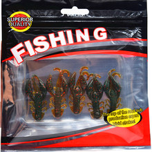 Hot Sell 5 pcs/Lot Plastice Soft Fishing Lure 50mm 2.2g floating Salt Smell Attractive Fish Crab Fishing Bait Soft Bait FA-343