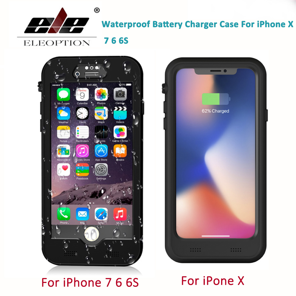 все цены на Waterproof FULL 3400mAh Battery Charger Case For iPhone X Power Bank Charging Case For iPhone 7 6 6S Wireless Charger Case онлайн