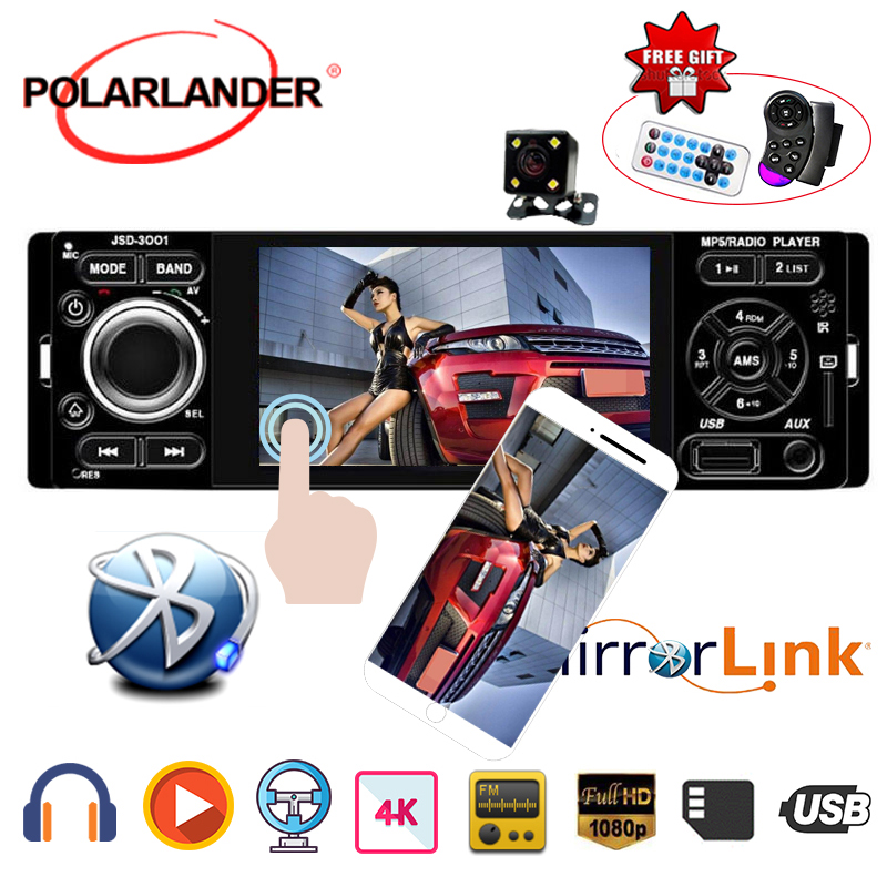 Microphone Touch Screen Mirror Link radio cassette player Stereo 4 1 Din Autoradio Rear view camera Car Bluetooth Car Radio image