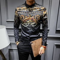 2017 Luxury Shirts For Mens Baroque Shirts Gold And Black Social Camisa Slim Fit Royal Designer