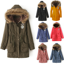 Women Winter Warm Long Sleeve Faux Fur Hooded Slim Jacket Coat Parka Outwear