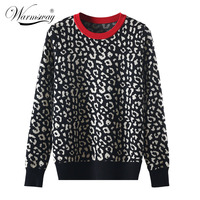 Autumn winter women sweaters leopard knitted pullovers long sleeve Contrast Color crewneck jumpers sweter mujer C 429