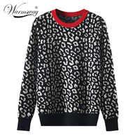 Jesienne zimowe damskie swetry leopard dzianinowe swetry z długim rękawem kontrastowe kolor crewneck swetry sweter mujer C-429