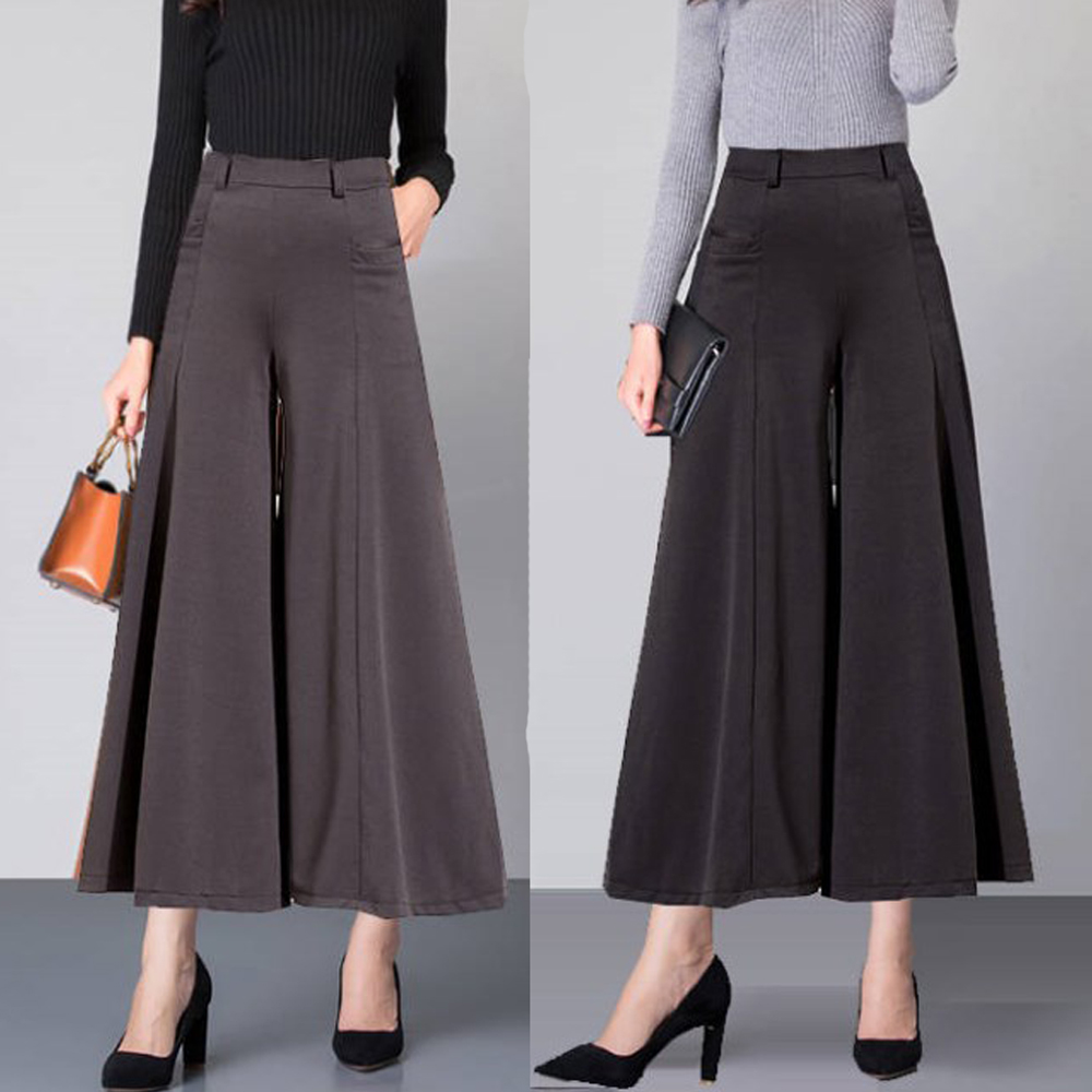 Spring Plus size   Wide     leg     Pants   Women High waist Casual Loose Drape Pleated Skirt   Pants   Ankle length Trousers pantalon