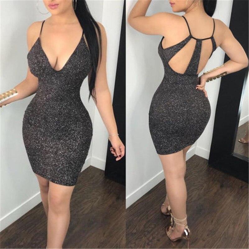 2019 New Fashion Sexy Women Bodycon Mini Dress Sleeveless Deep V Neck Summer Hot Club Wear Short Mini Dress Party Pencil Dress