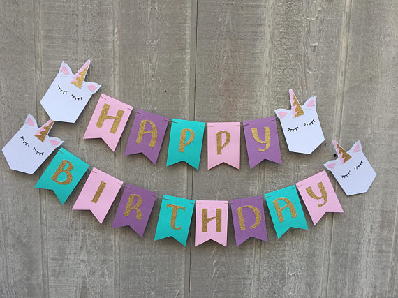 personalized happy birthday unicorn first birthday banners kids
