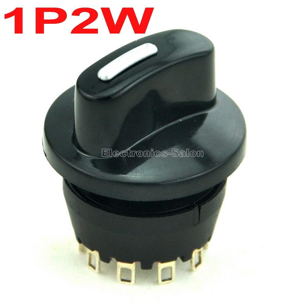 ( 50 Pcs/lot ) SPDT 8A/250V 1 Pole 2 Way Rotary Switch, With Knob.