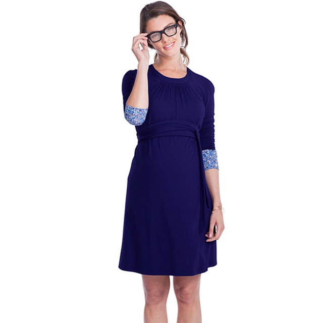 7de4d8ca1 3 4 Sleeved Lycra Maternity Dresses with Adjustable Sash Pregnant Women  Clothes Knee Length Working Mommy s Office Vestidos