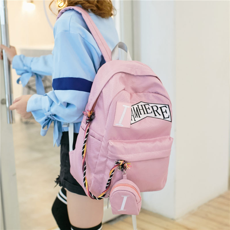 Waterproof nylon backpack female 2018 new Korean leisure large capacity student bag travel backpack computer bag candy color large capacity waterproof nylon backpack brand high quality fresh leisure and travel bag contrast color stripe bag