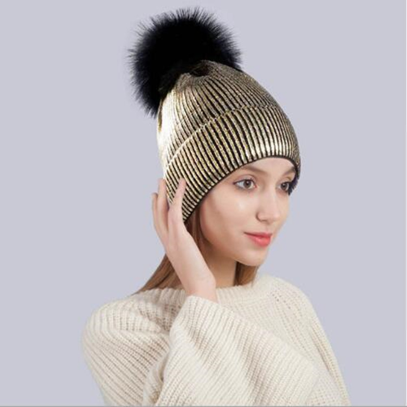 Winter fashion women's hat Winter Ins Gold Silver Purple Metallic Women Girls Acrylic Knitted   Skullies     Beanies   Pom pom Hats