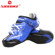 цена SIDEBIKE Processional Bicycle Shoes Cycling Road Mountain Bike Shoes Men Breathable Anti-slip MTB Racing Athletic Shoes Blue онлайн в 2017 году