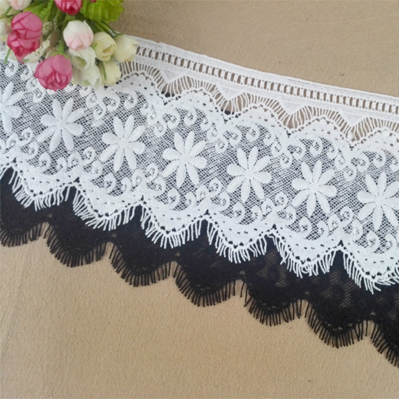 14-15cm Wide  Water Soluble Milk Silk Ribbon Embrodiary Lace Trim Fabric For DIY Clothing, Dress, Skirts,  Luxury Decoration