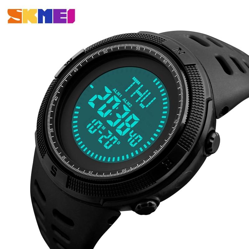 SKMEI Outdoor Sport Watch Men Compass Military Watches Countdown Chrono 5Bar Waterproof Digital Watch Relogio Masculino 1254