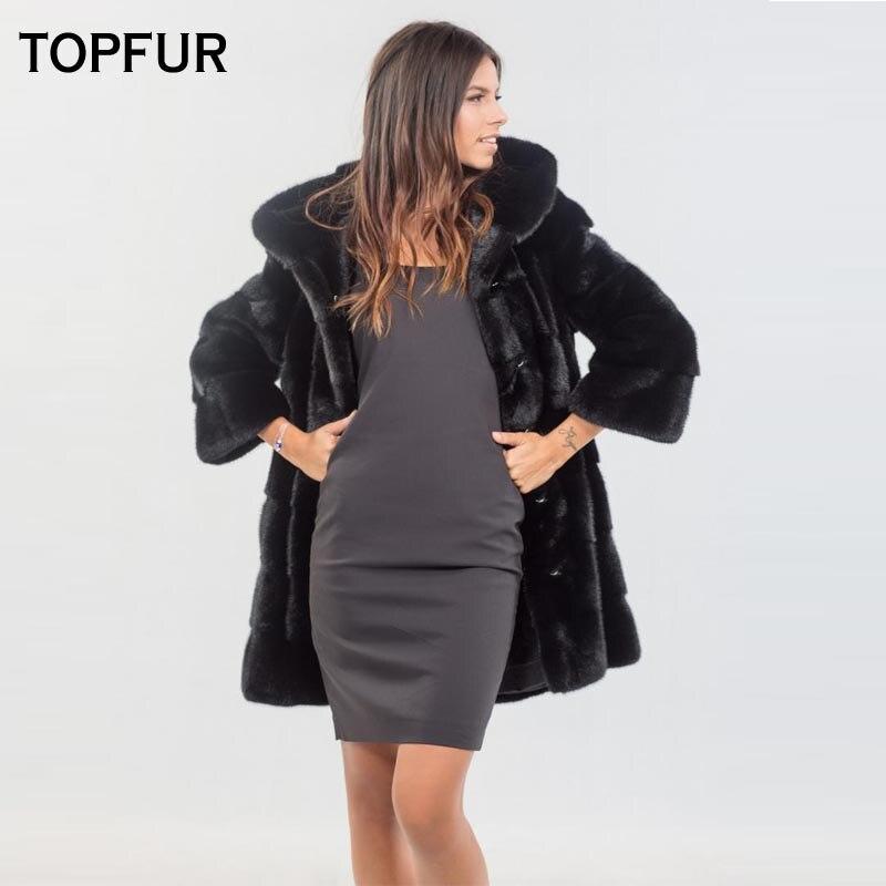 Nouveau Russie Fourrure Black Type Pour Réel Vison Femelle D'hiver De Avec Pelt Vestes Naturel Topfur Manteaux Chaud Femmes Capot 2018 Complet 5Hqxpp