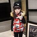 Nueva infant girls chaqueta de estampado floral de invierno niños chaleco con capucha otoño ropa infantil de los niños prendas de vestir exteriores