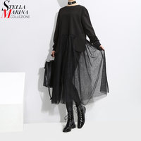2017 Korean Style Women Black Mesh Patchwork Dress Long Sleeve O Neck Knee Length Female Casual