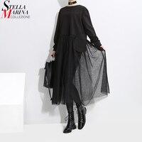 2017 Korean Style Women Black Mesh Patchwork Dress Long Sleeve O Neck Knee Length Female Casual