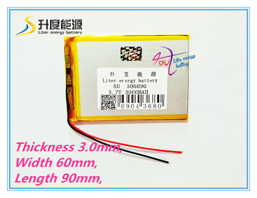 3.7V / lithium polymer batteries 306090 / containing 3000mAh / 7 inch Tablet PC Universal Battery LI