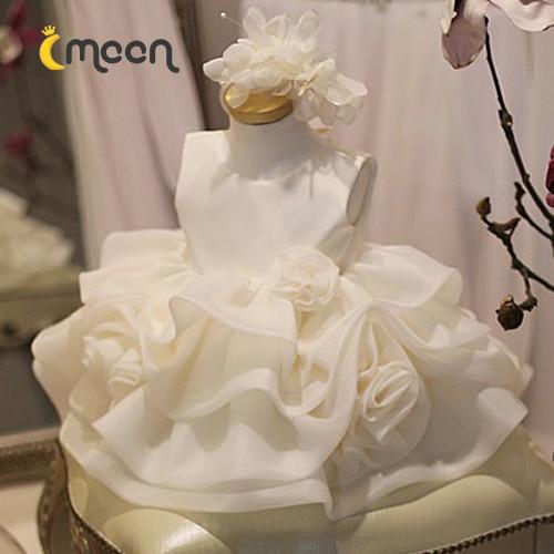 ФОТО Spring and summer dress baby princess dress girls dress flower white wedding dress skirt Tutu's children