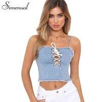 Simenual 2018 Summer Crop Top Female Shirt Strap Fashion Slim Lace Up Fringe Hem Sexy Denim