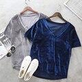 Moda de nova 2017 Sólido de Veludo V Pescoço T Shirt Mulheres Tops de Manga curta Solta Casuais Durante Todo o Jogo T-shirt Partes Superiores das Mulheres Tee P35