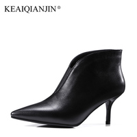 KEAIQIANJIN Woman Pointed Toe Boots Work Safety Black Green High Heel Boots Autumn Winter Shoes Genuine