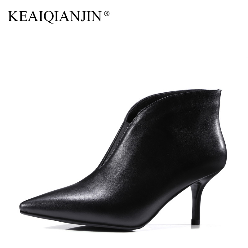 KEAIQIANJIN Woman Pointed Toe Boots Work Safety Black Green High Heel Boots Autumn Winter Shoes Genuine Leather Ankle Boots 2017 lovexss woman genuine red bottom ankle boots autumn winter high square toe cow leather woman work boots blue patchwork shoes