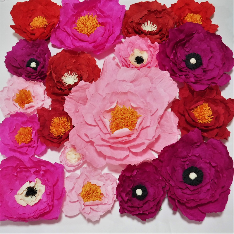 2018 Crepe Paper Flowers Backdrop Giant Paper Flowers Wall Artificial Floral Nursery Birthday Deco Wedding Flowers 18pcs 1MX1M