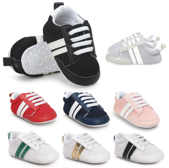 New Mesh Breathable Branded Infant Shoes Baby Soft Sole PU Leather Crib baby Boys Girls Shoes Casual First Walkers