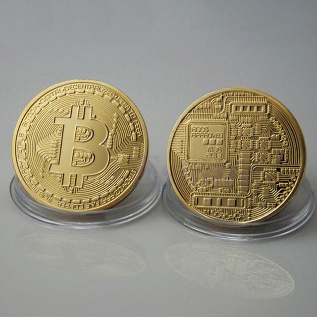 1pcs Bitcoin Gold Silver Plated Bronze Physical Bitcoins Double Sides Casascius Bit Coin BTC Art