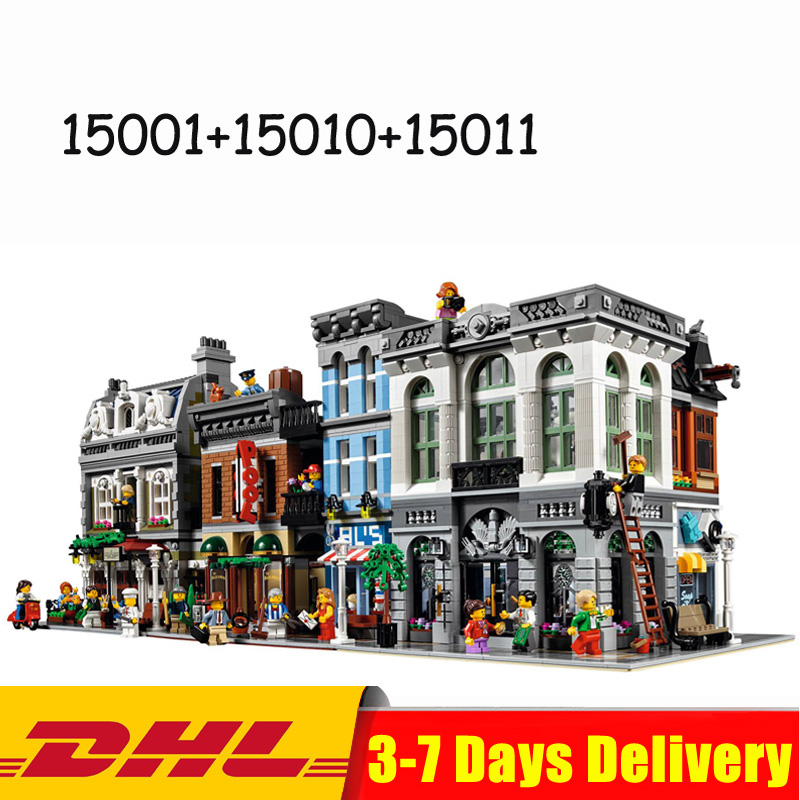 LEPIN 15001 Brick Bank +15010 Parisian Restaurant +15011 Detectives Office Toys Compatible LegoINGlys 10251 10243 10246 2018 3pcs lot dhl city town street lepin 15001 bank 15010 parisian restaurant 15011 detective s office model building kit blocks