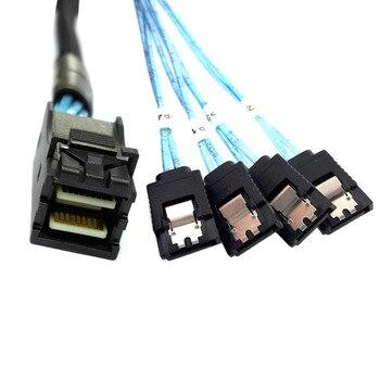 цена на Internal Mini SAS SFF-8643 Host to 4 SATA 7pin Target Hard Disk 6Gbps Data Server Raid Cable 50cm