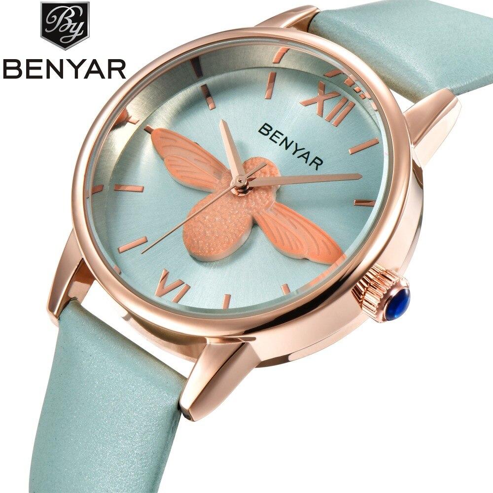 BENYAR Fashion Casual Bee Quartz Ladies Watch Women Leather Strap Dress Waterproof Geneva Female Watches Clock relogio feminino