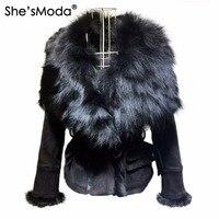 She'sModa Роскошные замшевые натуральным лисьим меховой воротник Пояса Тонкий Женская зимняя куртка в стиле панк
