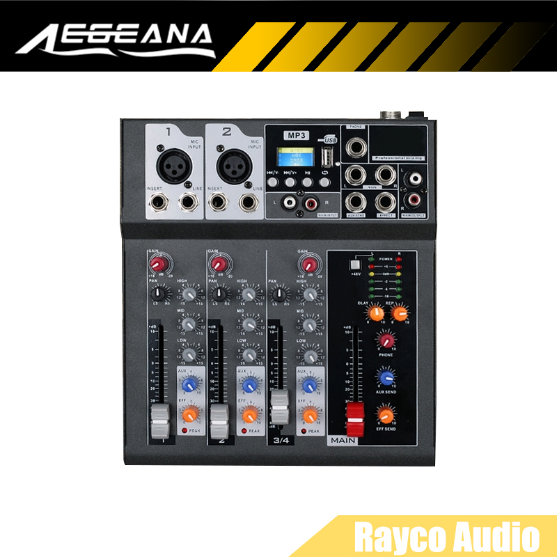 free shipping hot sales f4 4 channels audio mixer with usb input sound console dj equipment 4ch. Black Bedroom Furniture Sets. Home Design Ideas